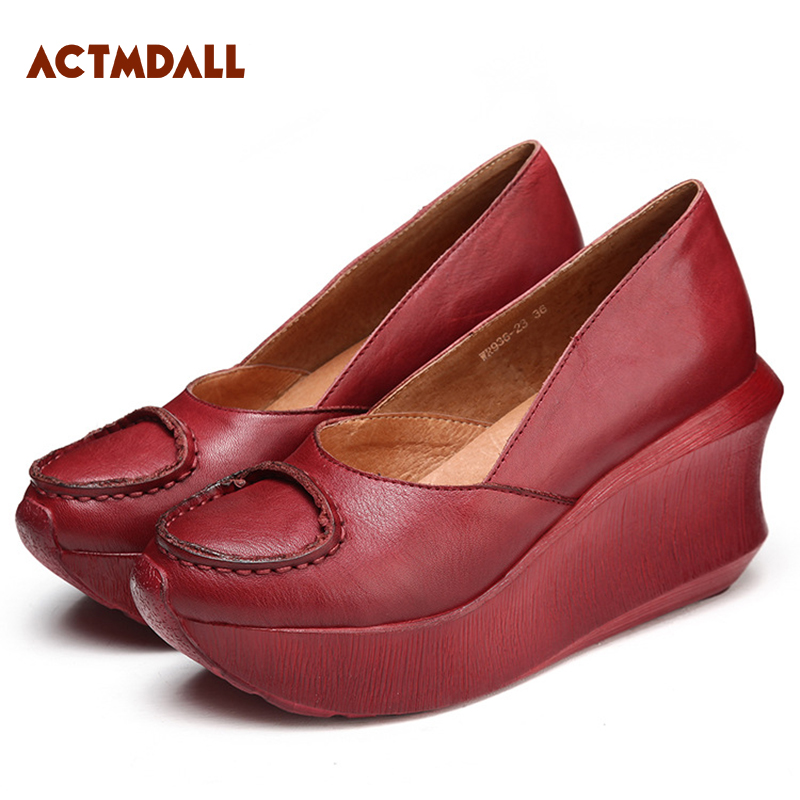 Handmade shoes woman 2018 spring leather women pumps thick sole high heel platform ladies shoes round toe red and coffee xiaying smile woman pumps shoes women spring autumn wedges heels british style classics round toe lace up thick sole women shoes
