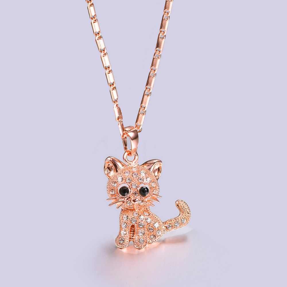 U7 Kucing Lucu Liontin & Rantai Emas/Perak/Rose Warna Berlian Imitasi Kristal Panas Hewan Kalung Wanita Perhiasan untuk gadis Hadiah P1027