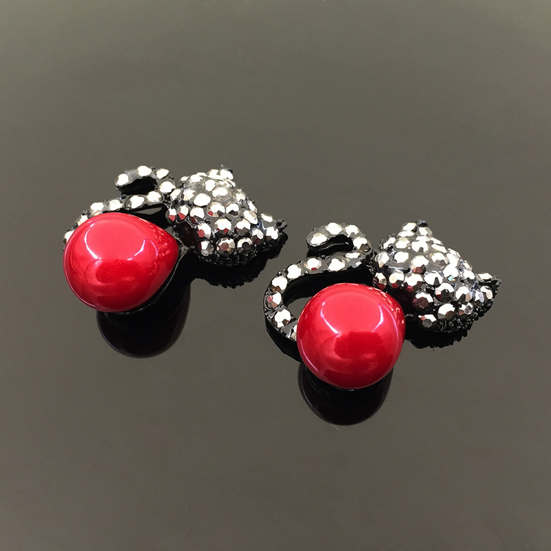 2016New 30Pcs Red Cat Rhinestone Button for Wedding Decoration and DIY hair Accessories HZ139