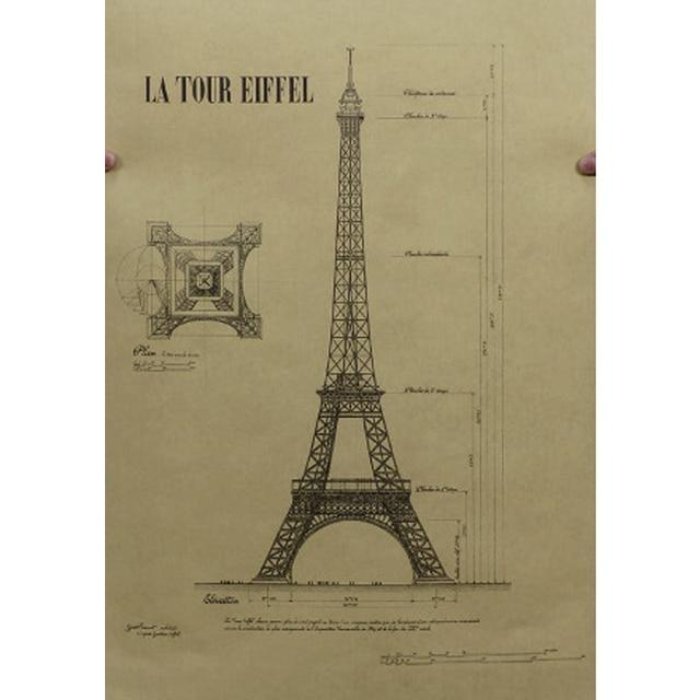 Romantic Eiffel Tower Picture Tour France Paris Structure Retro Vintage Home Decal Wallpaper Poster Sticker Painting