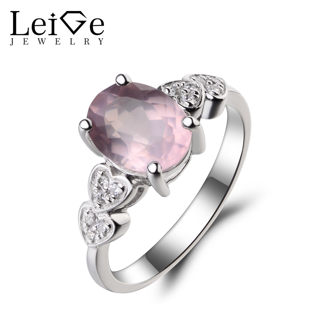 Leige Jewelry Promise Ring Natural Pink Quartz Ring Oval Cut Pink Gemstone 925 Sterling Silver Ring Romantic Ring for Women leige jewelry promise ring natural pink quartz ring oval cut pink gemstone 925 sterling silver ring romantic ring for women