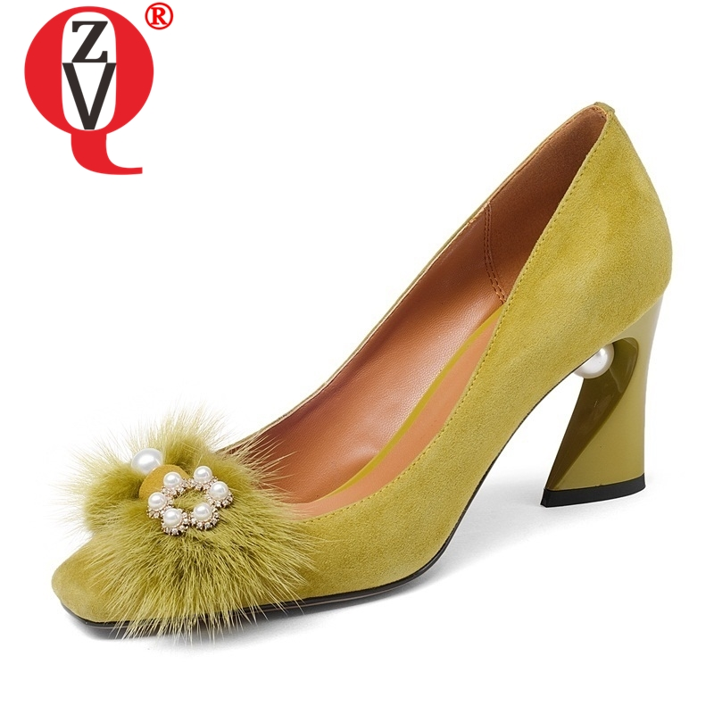 ZVQ الغنم جلد طبيعي ماري جينس مضخات فيديو تظهر مكتب سيدة اللؤلؤ الفراء الربيع الخريف عالية الكعب امرأة الأحذية 33  43 CN-في أحذية نسائية من أحذية على  مجموعة 1