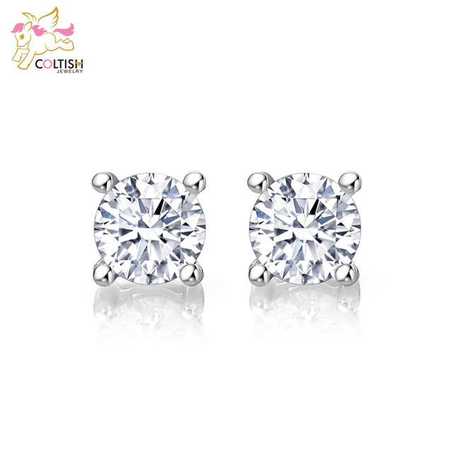 Sterling Silver 925 1/2 Ct Round Lady Stud Earrings Made with Cubic Zirconia Christmas Gift luxury Jewelry