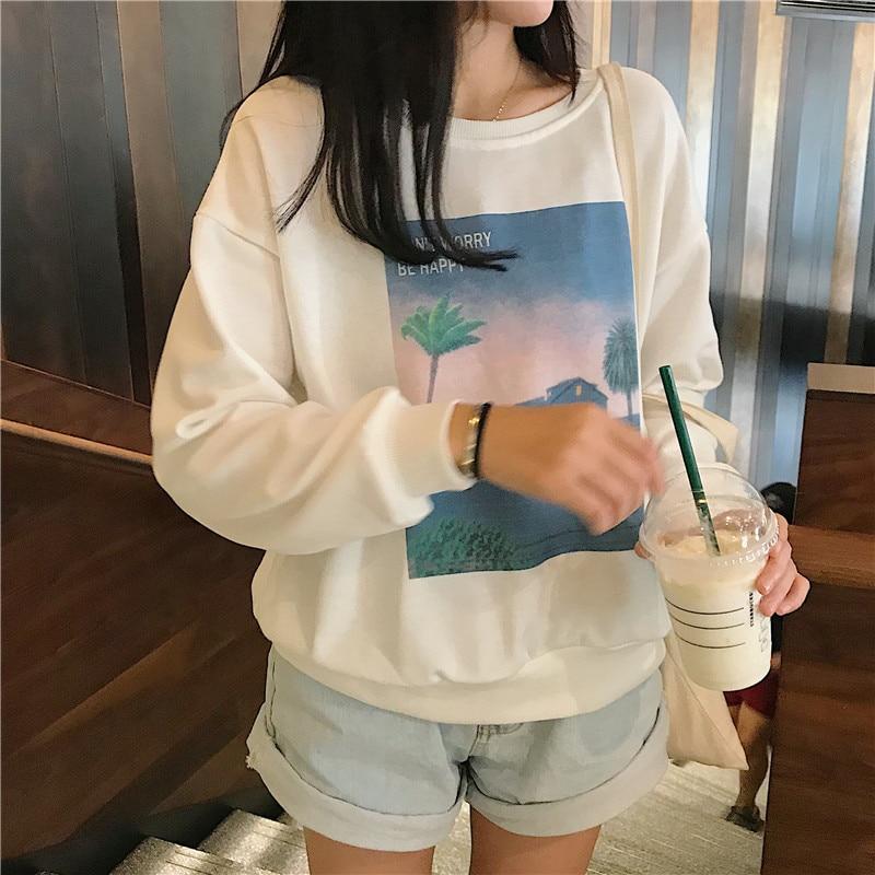 Korean Ulzzang Graphic Printed Loose Sweatshirt Tops Women Autumn 2018 Harajuku Kawaii Long Sleeve Pullovers Sweatshirts Tumblr