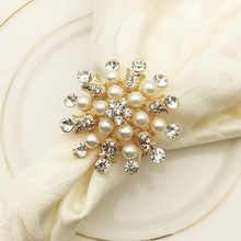 6PCS hotel Christmas snowflake napkin buckle metal ring mouth cloth