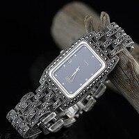 Женские Новые Ограниченная серия классический элегантный S925 серебро Настоящее тайское серебро Для женщин браслет часы Таиланд площади гор