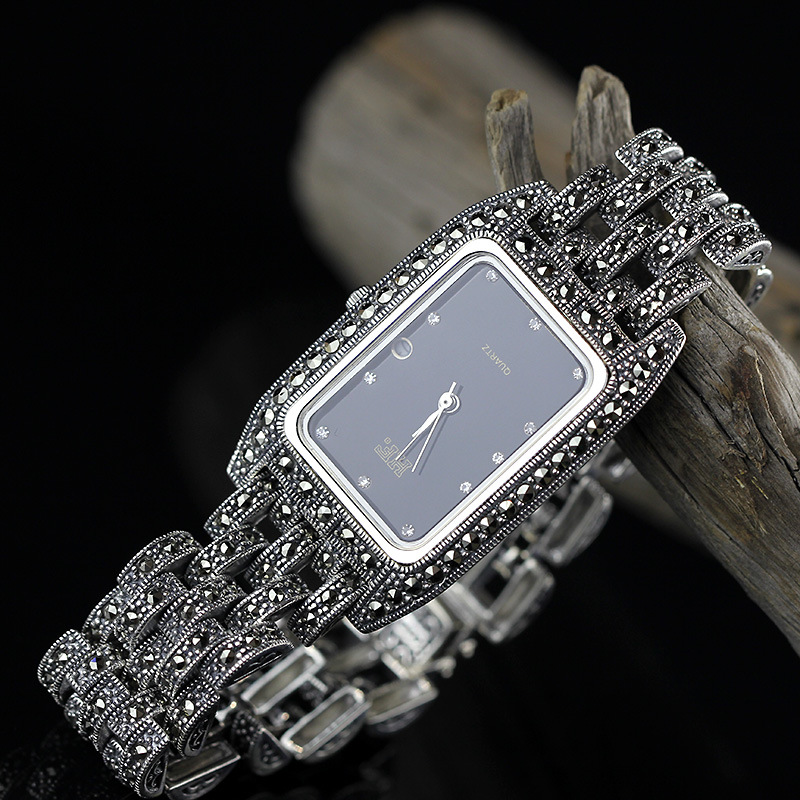 Lady New Limited Edition Classic Elegant S925 Silver Pure Thai Silver Women Bracelet Watches Thailand Square Rhinestone Bangle