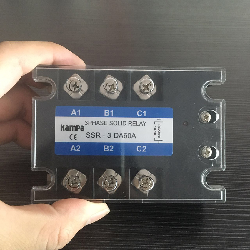 TSR-60DA 3 Phase Solid State Relay DC to AC Input 3-32VDC Load 24-480VAC 60DA Three SSR