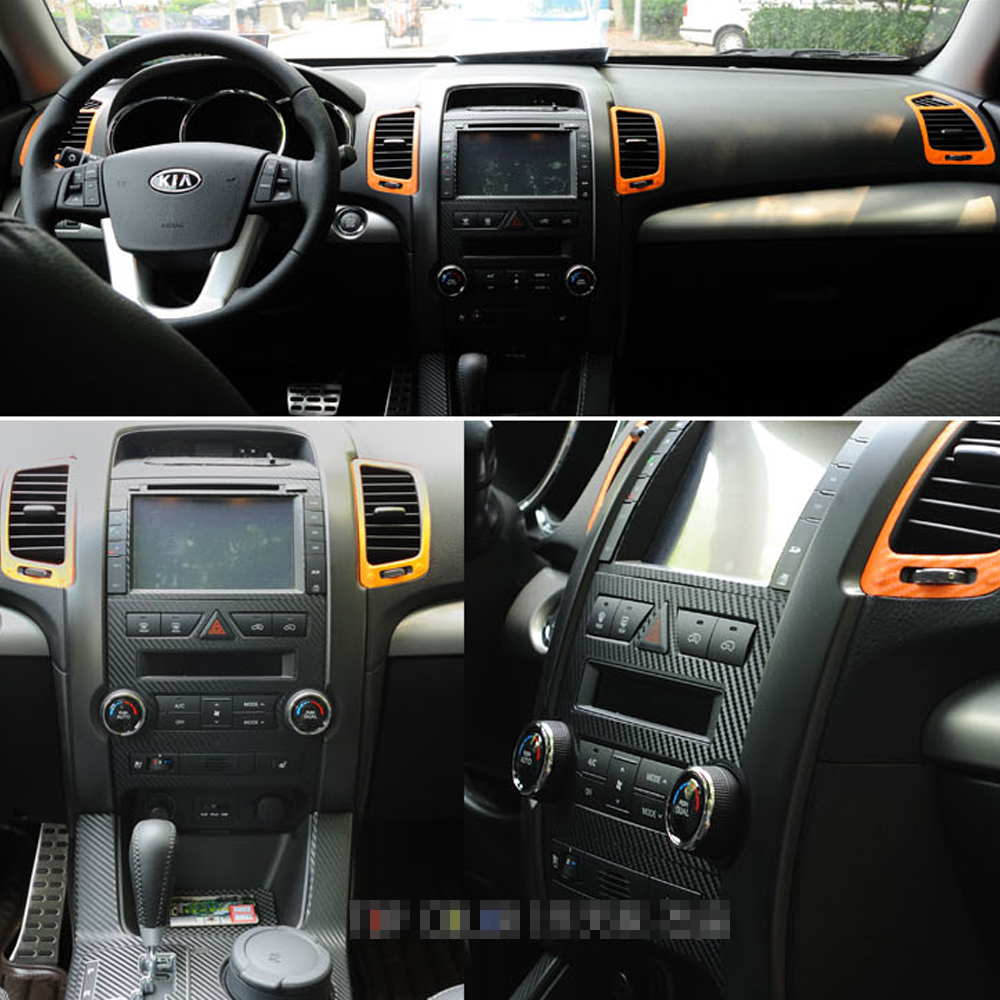 For Kia Sorento 2009-2012 Interior Central Control Panel Door Handle 3D/5DCarbon Fiber Stickers Decals Car Styling Accessorie