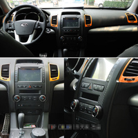 For Kia sorento 2009 2012 Interior Central Control Panel Door Handle 3D/5DCarbon Fiber Stickers Decals Car styling Accessorie