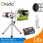 Orsda Mobile Phone Lenses 18x Telescope Camera Zoom Optical Cellphone telephoto Lens for iPhone Samsung Huawei With Mini Tripod