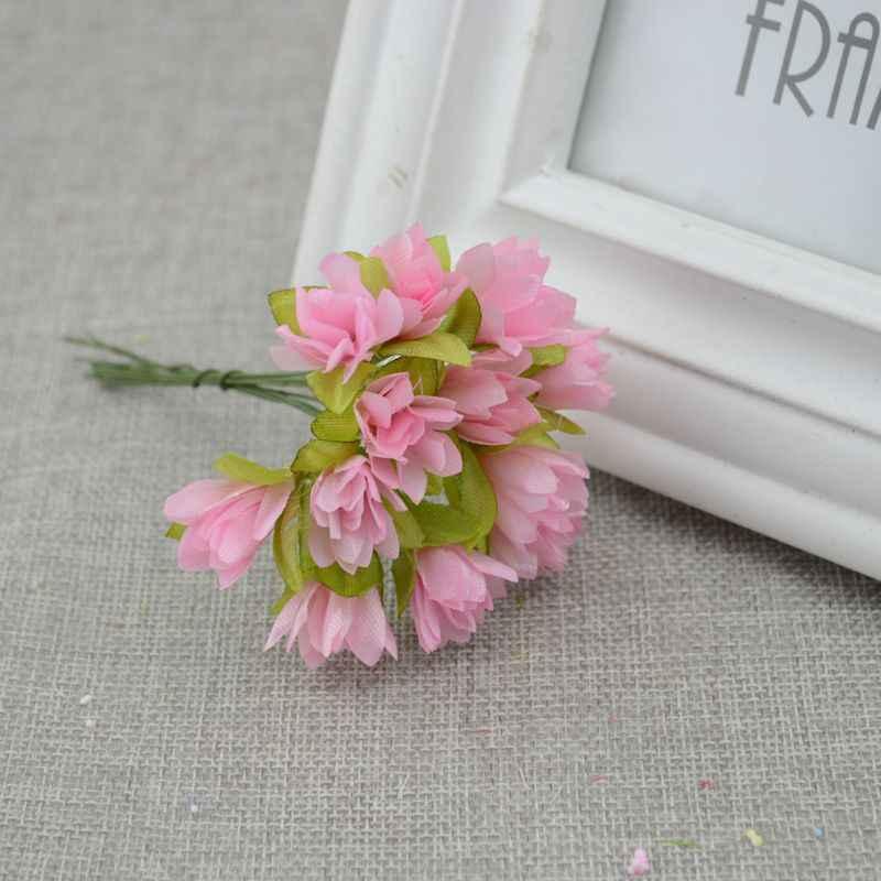 12 Pcs/lot Bunga Buatan Cherry Bunga Sutra Simulasi DIY Wreath Bahan Pengantin Pergelangan Tangan Bunga Pernikahan Bunga Dekorasi