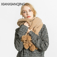 XIANXIANQING Fashion Solid Women Winter Scarf Lady S Cashmere Shawls Warm Capes Womens Poncho Street Scarfs