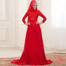 Muslim Evening Dresses With Hijab Full Sleeves Long Red Evening Gowns Appliques Vestido De Festa Longo A Line Evening Dress Lace