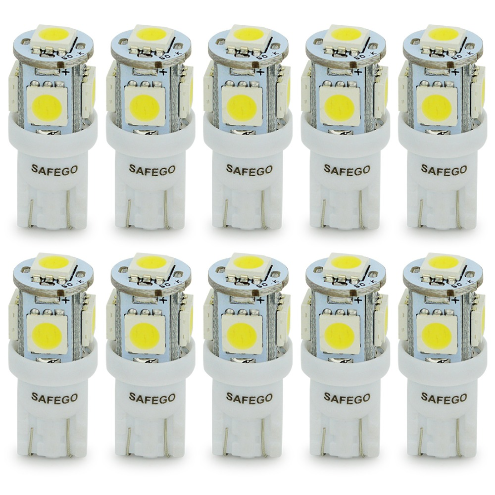 Safego 10X T10 W5W LED Bulb 5 SMD LED White Blue Red Yellow Green 5050 194 168 Super Bright wedge Lights bulbs Lamps 12V 10x t10 5smd dc 12v 1w 5050 5 smd 192 168 194 w5w white blue red green yellow pink xenon led side light wedge bulb lamp for car