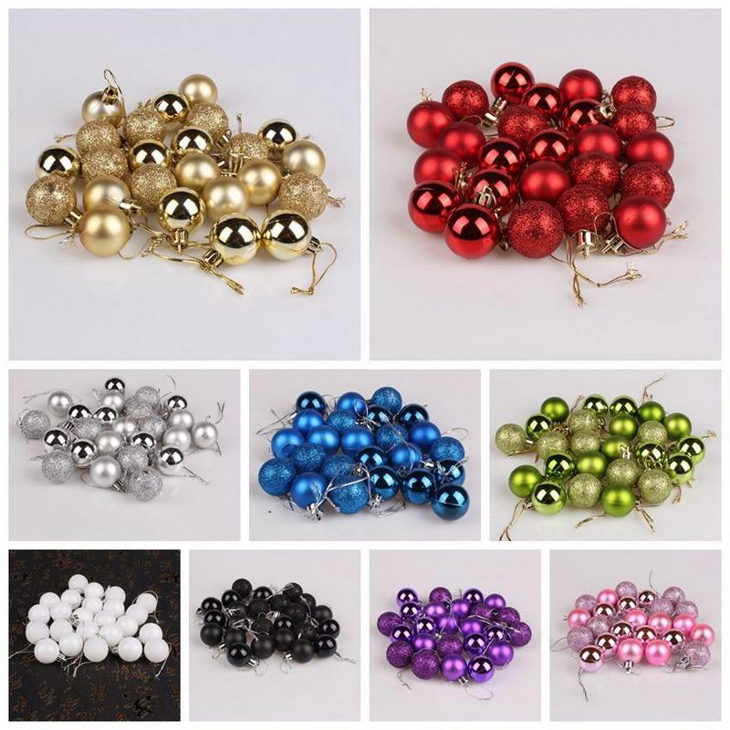 Hot Sale 24 Pcs/Set 12 Colors Glitter Christmas Baubles