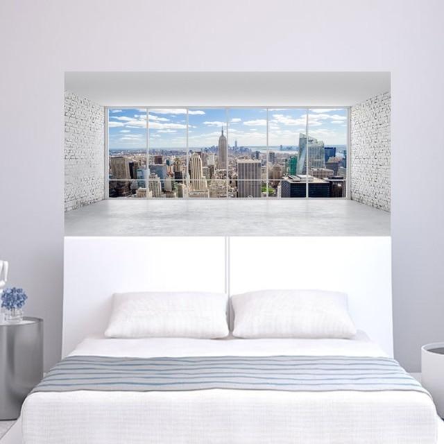 مدينة بناء المشهد جدار ملصقا السرير رئيس ملصقات الحائط ملصقا ل المسكن غرفة نوم ديكور المنزل