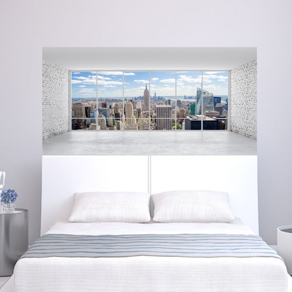 City Building Scene Wall Sticker Bed Head Stickers Wall Sticker For Dorm Room Bedroom Home Decor-in Wall Stickers from Home & Garden
