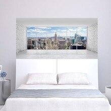 City Building Scene Wall Sticker Bed Head Stickers Wall Sticker per dormitorio camera da letto Home Decor
