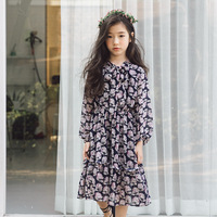 fashion printed kids princess dresses for baby big girls new year clothes children cotton long party dress kids spring 2018 new