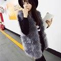 New 2018 Long Fur Vest Winter Women Luxury Faux Fox coat Fur Vest Furry Slim Ladies winter coat women pelliccia donna outwear