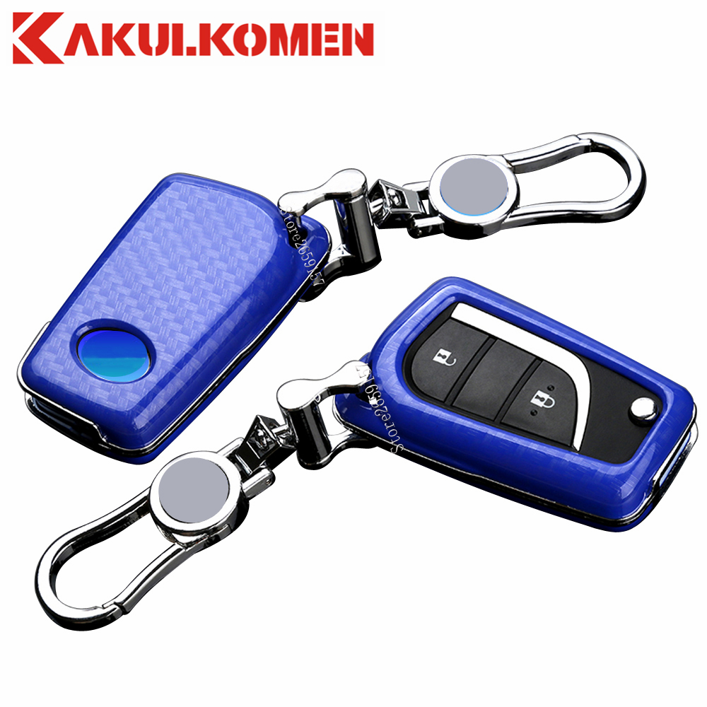 Carbon Fiber Car folding keyfobs for Toyota Levin,RAV4,Corolla,Reiz,Highlander,Camry key Cover case remote with good signal
