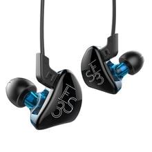 Новый KZ es3 BA + dd в ухо наушник Гибридный гарнитуры HiFi бас Шум Отмена наушники с микрофоном заменить кабель