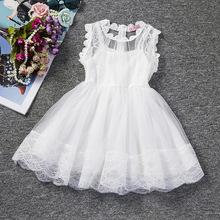 Free shipping Korean style lace girl dress childrens gauze princess for holiday or birthday party gift JQ-2021