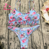 Pacento Bikini Set Ruffle Frilly Floral Swimwear Women Print Swimsuit Brazilian Biquini Sexy Thong Bathing Suit