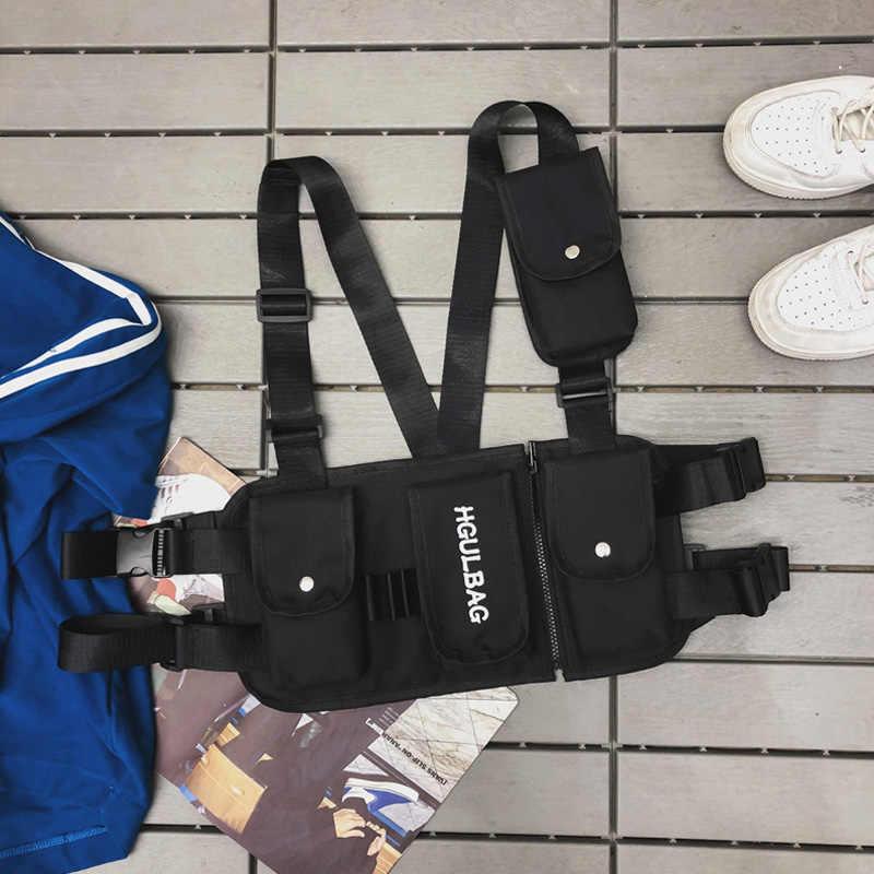 남자를위한 허리 가방 다기능 전술 기능 패키지 남여 가슴 가방 캔버스 조끼 가방 힙합 트렌드 총알 가방 남자 핫