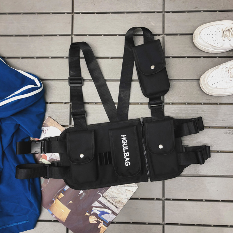 Waist Bag For Man Multi-functional Tactical Function Package Unisex Chest Bags Canvas Vest Bag Hip Hop Trend Bullet Bags Men Hot