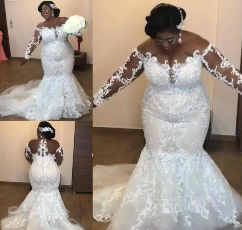 New Arrival Mermaid Wedding Dresses 2019 Off Shoulder Long Sleeves Applique Garden Country Bride Bridal Gowns Plus Size