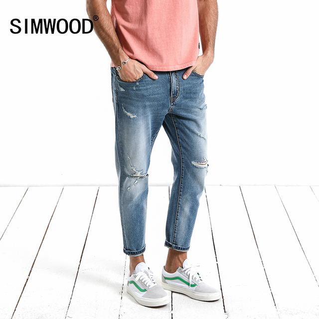 SIMWOOD 2018 Autumn Ankle-Length Jeans Men Slim Fit Fashion Hole Denim Cotton   Trousers Brand Clothing Plus Size Casual 180122