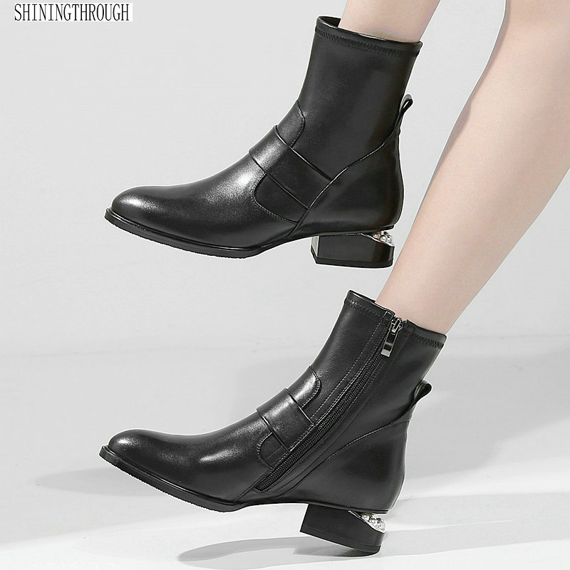Genuine Leather Women Boots Brand Winter Warm Short Ankle Boots Plus Size Platform Single low heels Martin Shoes Woman gktinoo genuine leather women chelsea boots brand thick heel short ankle boots plus size platform single martin shoes woman