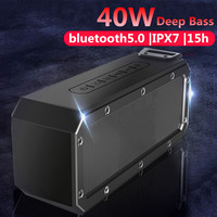 40W bluetooth 5.0 Speaker Column Portable Speaker IPX7 Waterproof Subwoofer with 360 Stereo Sound Outdoor Speakers Boombox