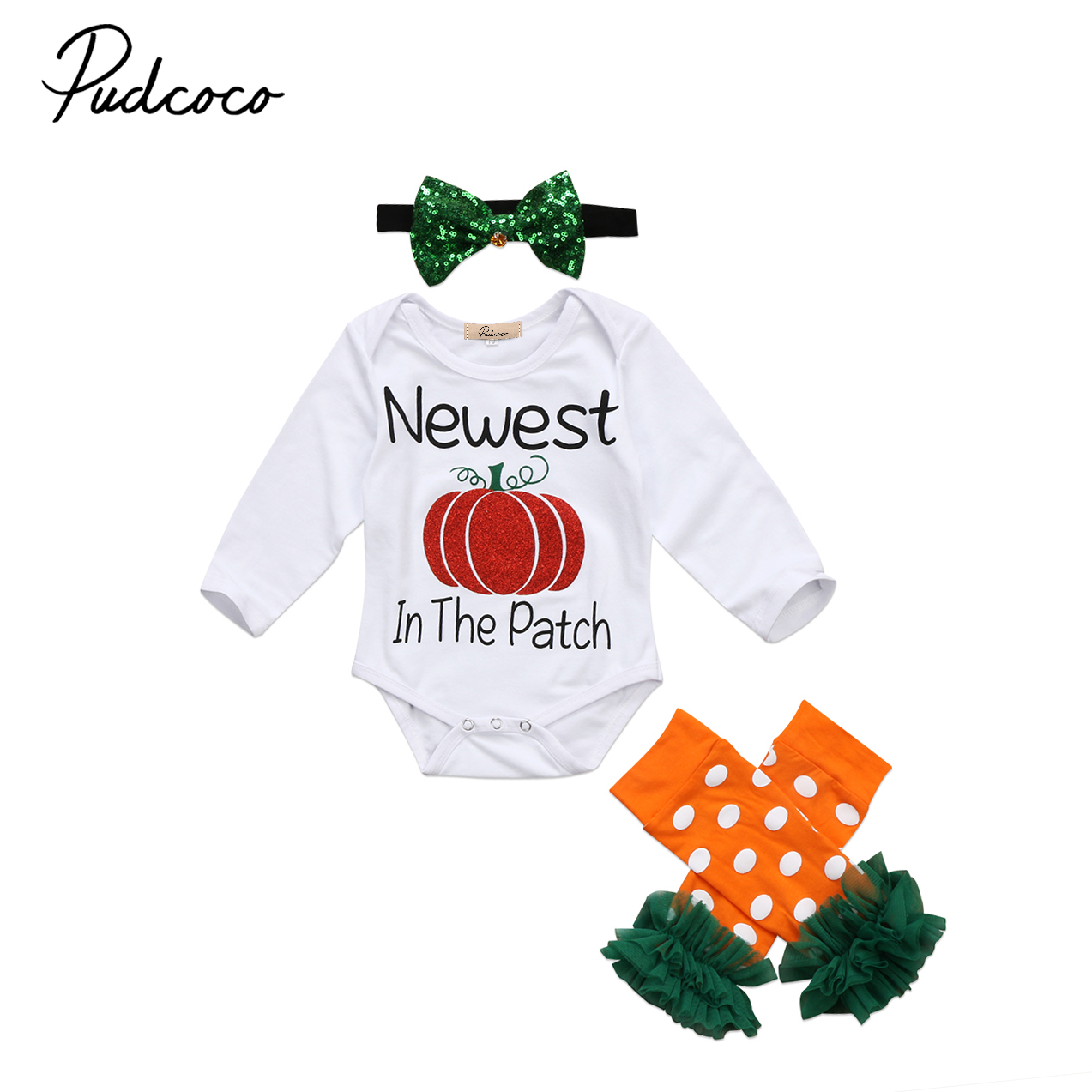 2017 Brand New 3pcs Newborn Toddler Infant Baby Girls Clothes Long Sleeve Romper Legging Warmer Headband Outfits Halloween Sets