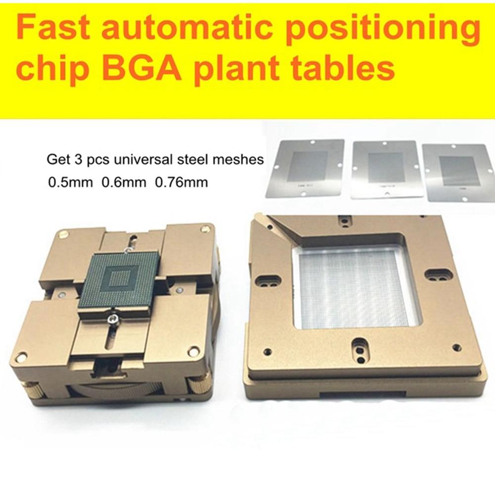 Fast Automatic Positioning Chip BGA Plant Tables Universal Steel Plant Tin Solder Ball Rework Station BGA Reballing Stencil motherboard lga 775 lga775 cpu bga replacement repair socket with solder tin ball