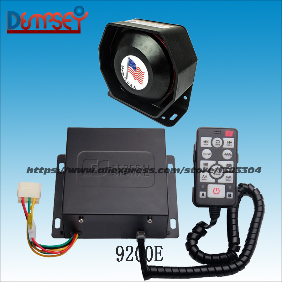Dempsey police Siren,Emergency,ambulance,fire,truck car siren with Microphone,DC12V,2 light control switches,with speaker(9200E) higher star 120cm led car emergency lightbar for police ambulance fire truck 100w speaker in the middle 100w siren waterproof