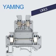 цена на 50PCS Terminal blocks UKK3 DIN rail 2.5mm2 Universal class 25A double terminal double lugs of flame retardant Connector