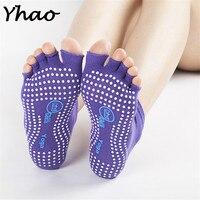 Yhao Women Yoga Socks Half Toe Non Slip Ladies Sport Socks Half Fingers Cotton Exercise Socks