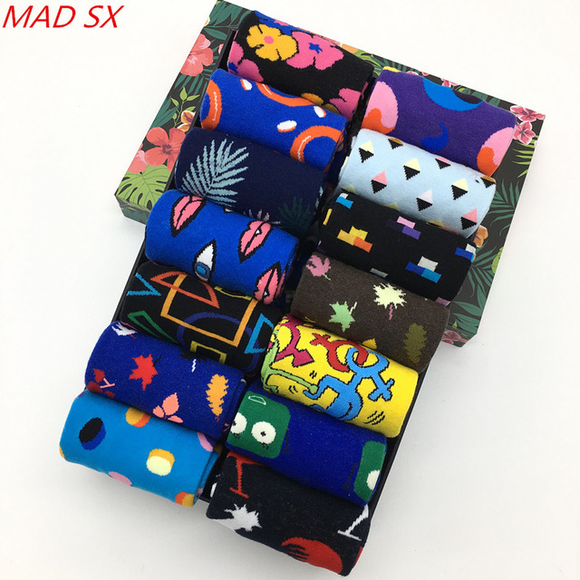 10 pair/lot Mens fashion Pattern Dress Funky Fun Colorful Socks Luxury Crazy Novelty Dress Socks Cotton Happy Funny Socks