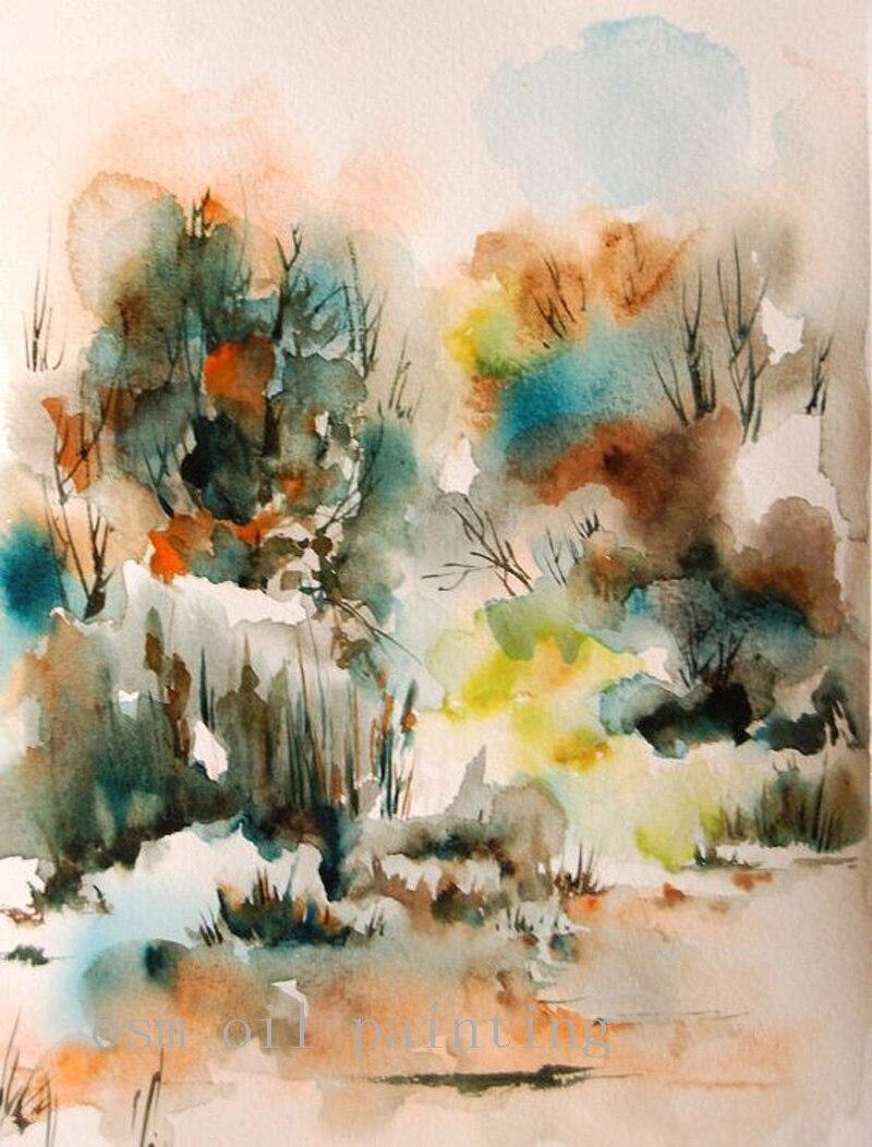 Haute qualité à la main calligraphie mur Art montagne forêt scène toile peinture à l'huile abstraite paysage aquarelle Art peinture