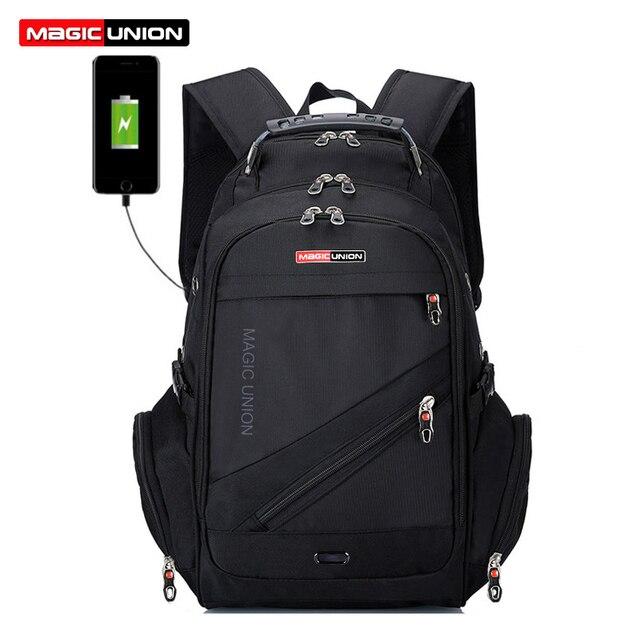 MAGIC UNION 17 Inch Laptop Backpack Men USB Charging Waterproof Oxford Large Travel Backpack Women Rucksack School Bag mochila