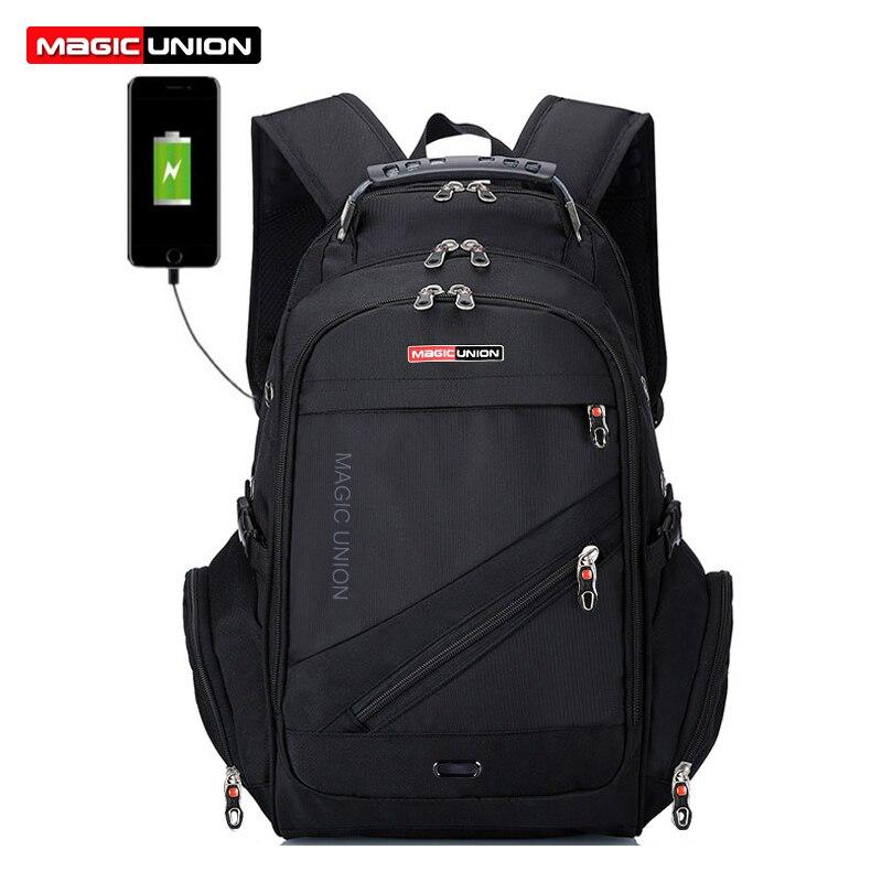 MAGIC UNION 17 pouces sac à dos pour ordinateur portable hommes USB charge imperméable Oxford grand voyage sac à dos femmes sac à dos cartable mochila