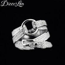 DIEERLAN богемное модное 925 пробы Серебряное циркониевый Пояс Кольца для женщин обручальное кольцо для большого пальца необычные ювелирные изделия