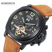 אופנה מכאני שעון גברים Tourbillon אוטומטי שעון יד עמיד למים עור שעון זכר שעון montre homme horloges mannen