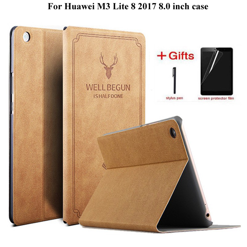 Deer Pu Leather Flip Stand case For Huawei Mediapad M3 lite 8 CPN-W09/AL00 Funda Tablet cover for Huawei  m3  lite 8 case+giftsDeer Pu Leather Flip Stand case For Huawei Mediapad M3 lite 8 CPN-W09/AL00 Funda Tablet cover for Huawei  m3  lite 8 case+gifts