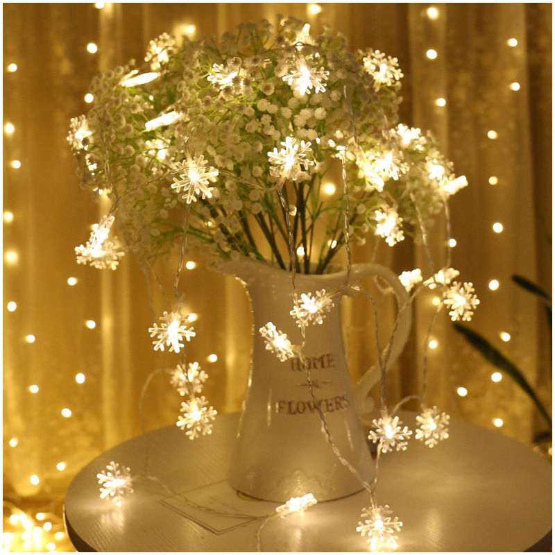 Frozen Party Supplies 3M 20 Led Snowflake String Light Garlands Ornaments Christmas Tree Decorations for Home Winter Decor Snow