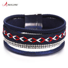Amorcome Leather Bracelets For Women Bohemian Magnet Clasp Blue Color Cloth Belt Crystal Multilayer Bracelet Female Jewelry(China)