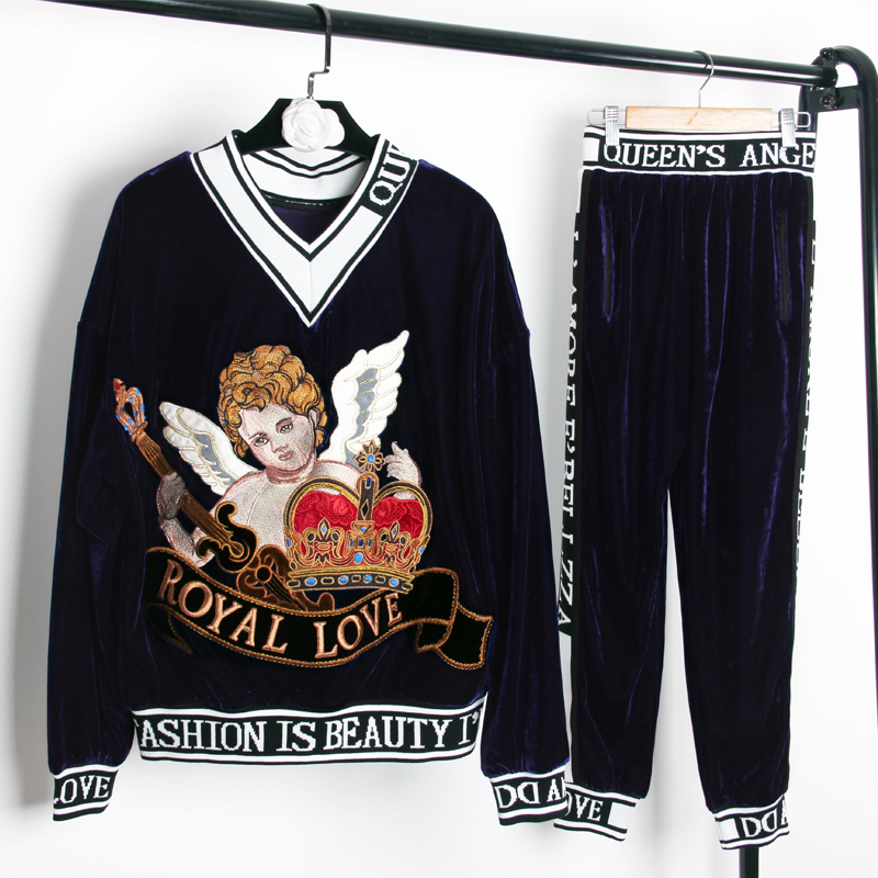 Luxury Design Spring Fall Celebrity Style Runway Embroidery Pants Suit Loose Blouse Slim Trouser Letter Velvet